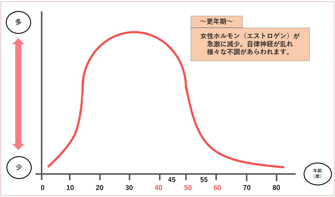 女性ホルモン(エストロゲン)量の変化